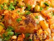 Рецепта Печено пиле по провансалски с картофи, боб и маслини в йенско стъкло (тава)